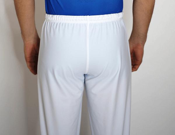 Pánské gymnastické šponovky bílé barvy zezadu