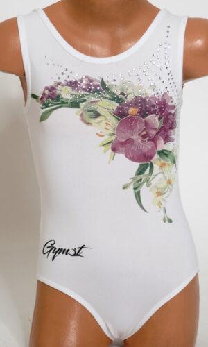 Gymnastický dres bílý Diamond orchid zepředu bližší záběr