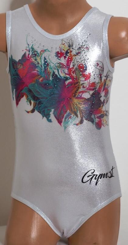 Gymnastický dres třpytivý Glitter flower focený předek