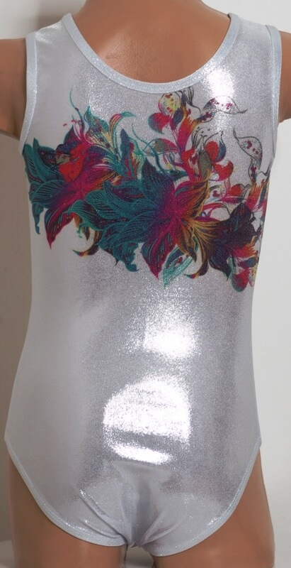 Gymnastický dres třpytivý Glitter flower focený zezadu