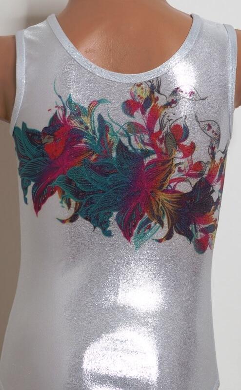 Gymnastický dres třpytivý Glitter flower focený z blízka zezadu