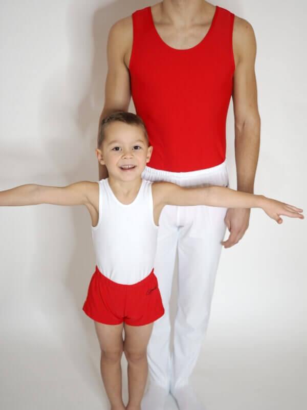 červený gymnastický dres pro kluky zepředu od Gymot