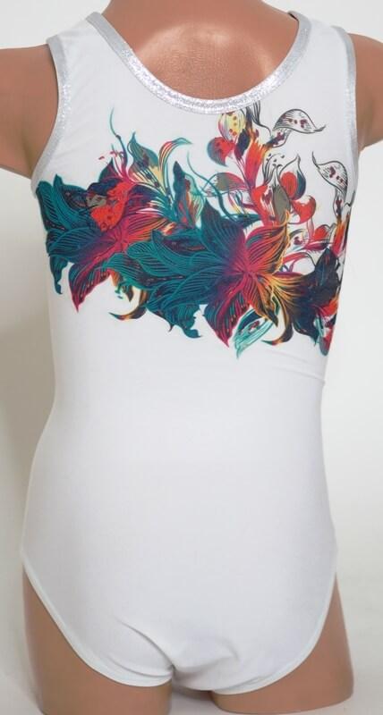 Gymnastický dres třpytivý Crazy flower focený zezadu celý bez loga