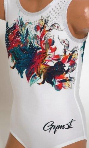 Gymnastický dres třpytivý Crazy flower focený zepředu celý logo Gymot