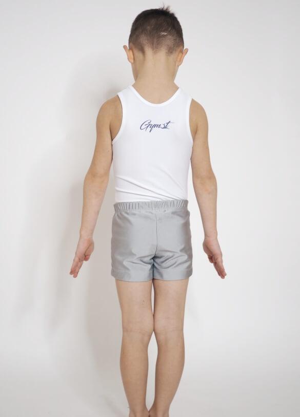 Bílý gymnastický dres pro kluky zezadu značky Gymot