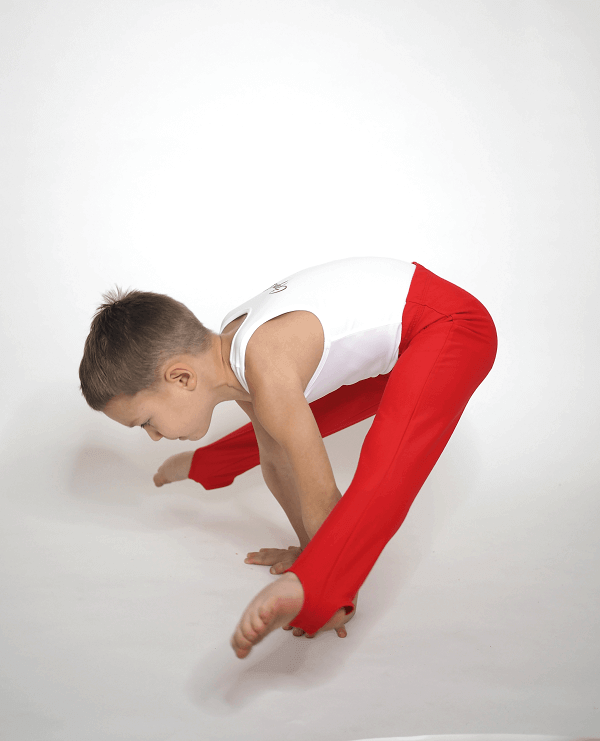 Gymnastické šponovky pro kluky červené ve špicaru
