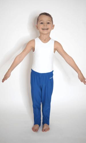 Gymnastické sponovky pro kluky modre barvy celé s dresem