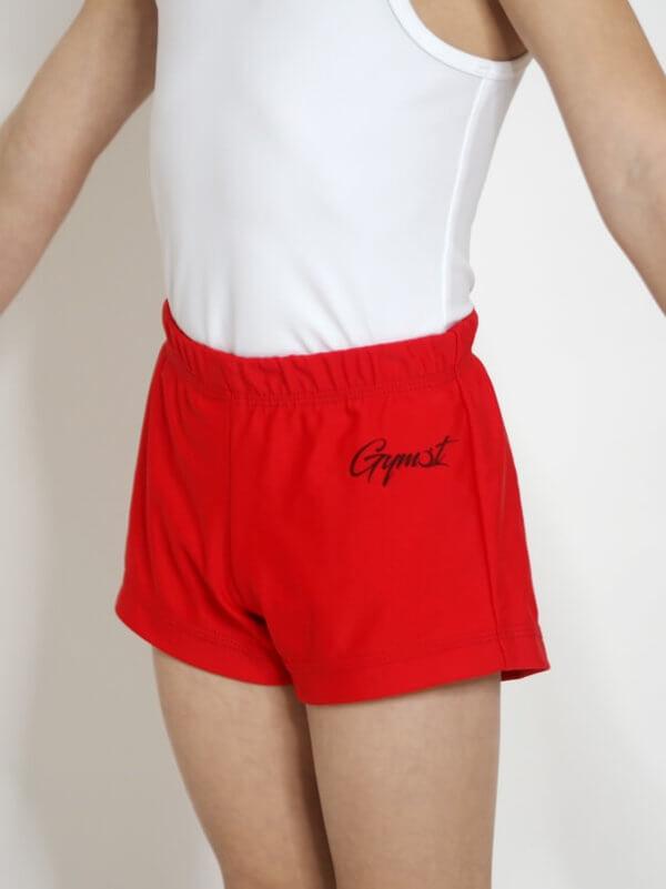 gymnastické trenky pro kluky červené barvy zepredu s logem