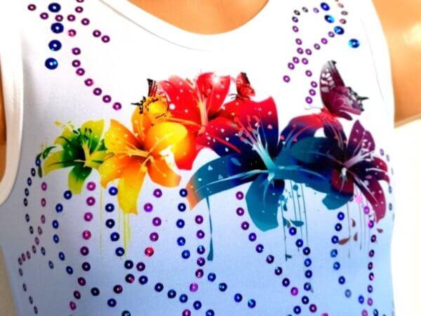 Dres pro dívky na gymnastiku Blue Ombre Flower detail